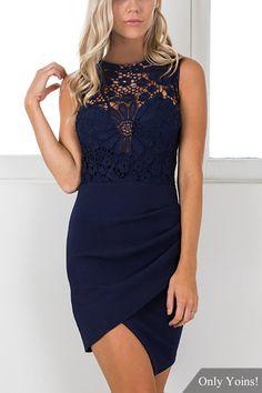 577682da4 Sleeveless Irregular hem Mini Party Dress with Crochet lace Insert -  US$14.95