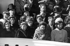 Four past, present and future First Ladies at John F. Kennedy's inauguration ceremony in January 1961: left to right: Pat Nixon, Mamie Eisenhower, Lady Bird Johnson and Jacqueline Kennedy.
