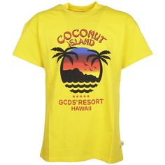 Gcds Coconut Island T Shirt (2.541.740 VND) ❤ liked on Polyvore featuring tops, t-shirts, yellow, yellow tee, gcds, yellow t shirt and yellow top