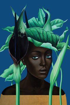 "crystalline-aesthetics: "" Slava Fokk "" After the Rain Arum Rosa de Monte Banana "" Jungle Queens series, oil and gold leaf on canvas "" Canvas Artwork, Canvas Art Prints, Oil On Canvas, Art And Illustration, Art Magique, Jungle Queen, Best Canvas, Russian Art, African Art"