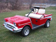 Custom red golf cart