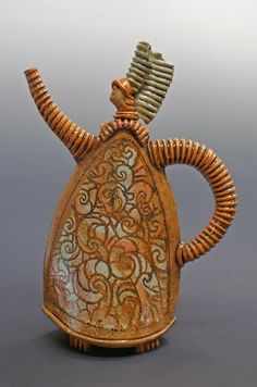 """Sandy Terry - Lady Anne  Hand built teapot  about 14"""" tall  Wax design with overlapping glazes"""