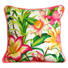 Neon Hibiscus Flower Cushion or Pillow Cover by SquareFoxDesigns, Tommy Bahama fabric Custom Cushions, Pillow Fight, Hibiscus Flowers, Floral Fabric, Pillow Covers, Tropical, Tapestry, Neon, Throw Pillows