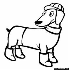 Free dogs Coloring Pages. Color in this picture of an Dachshund and others with our library of online coloring pages. Race Car Coloring Pages, Toy Story Coloring Pages, Puppy Coloring Pages, Dachshund Facts, Dachshund Dog, Dog Cat, Daschund, Sesame Street Coloring Pages, Free Coloring Pictures