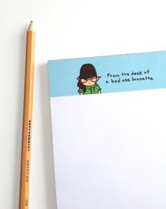 I so need this!!   Etsy listing at https://www.etsy.com/listing/91167556/funny-note-pad-brunette-retro-from-the