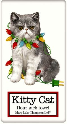 Christmas Cat Lover Mary Lake Thompson Dish Towels – For the Love Of Dogs - Shopping for a Cause