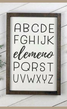 It's so funny how all kids say the ABC's like this at first! Alphabet sign, Funny wood sign nursery, playroom decor, ABC sign, farmhouse nursery, rustic home decor, Rustic kids wall decor, Baby shower gift idea, Farmhouse decor #ad