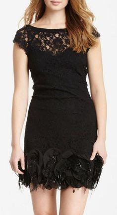 Jessica Simpson Feather Applique Trim Dress