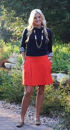 I don't like the skirt too much, I think I'd do jeans/pants/leggings, but still keeping that beautiful color!