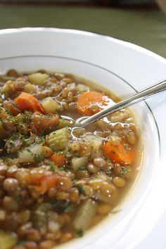 Hearty soups, without hearty calories. This quick-and-easy lentil soup is tasty and extremely healthy, with a variety of veggies and fiber,...