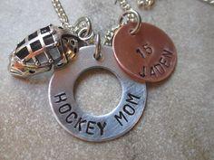 Hockey Mom Necklace with Mixed Metals and Hockey Mask or Hockey Sticks Charm on Etsy, $24.00