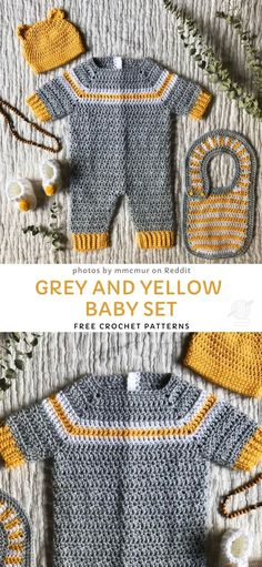 Grey and Yellow Baby Set - Free Crochet Patterns - Cute Crocheted Baby Sets. This adorable baby set contains patterns for booties, bib and a sweet one - Baby Set, Baby Baby, Baby Clothes Patterns, Baby Patterns, Blanket Patterns, Free Baby Crochet Patterns, Crochet Baby Sweater Pattern, Baby Boy Knitting Patterns, Crochet Ideas
