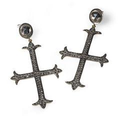 Black Diamond Cross Earrings | Edgy Jewelry NYC | Catherine Angiel - Catherine Angiel