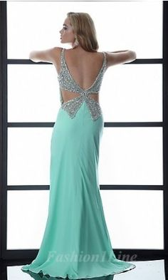 Mint Sequenced Cut-Out Prom Dress