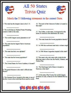 All 50 States Trivia – Find Your St Patrick's Day Activities 4th Of July Trivia, St Patrick's Day Trivia, 4th Of July Games, Trivia Games, July 4th, Party Games, Trivia Questions And Answers, This Or That Questions, Trivia For Seniors