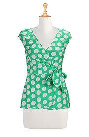 Polka dot poplin wrap blouse/eShakti