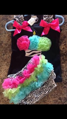 Birthday zebra cupcake bloomer outfit 12-24 month