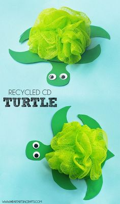Recycled CD Turtle Kids Craft - Make these turtles using recycled CD's and a loofah!