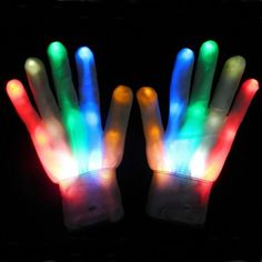 gants fibre led 3 modes lumire multicolore 730 euros - Lumire Colore