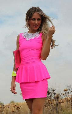NEON PINK Low Open Back Peplum Mini Dress By designer Justyna G.