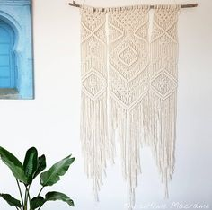 Macrame wall hanging woven on branch large tapestry wall Recycled Decor, Large Tapestries, Boho Life, Hippie Bohemian, Wall Tapestry, Macrame, Backdrops, Etsy, Lovers