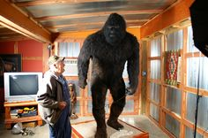 It's a life-sized replica of Bigfoot built by a man named Clifford LaBrecque back in 1976. Description from nerdapproved.com. I searched for this on bing.com/images
