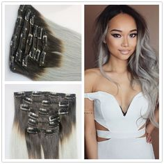 Ombre Grey Clip In Human Hair Extension Ombre Brazilian Human Hair Extension…