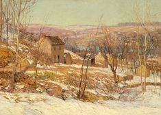 Edward Willis Redfield, (American, 1869 – 1965), Winter in the Valley, oil on canvas, 51 x 66 inches, Reading Public Museum. Part of our American Impressionism exhibition.
