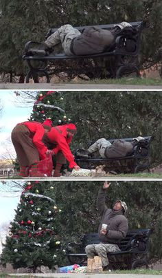 """""""Elfos"""" surpreendem morador de rua com enfeites, presentes de natal e comida.-Christmas Elves Surprise The Homeless With Food And Gifts. We Are The World, In This World, Photo Restaurant, Wholesome Pictures, Beste Gif, Human Kindness, Homeless People, Homeless Man, Sweet Stories"""