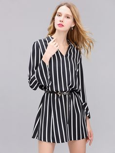 Sale 30% (29.4$) - Women Chiffon Long Sleeve Black And White Stripe Slim Dress