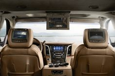 A pair of 7-inch LCD screens, embedded in the front head rests, supplement the overhead 9-inch screen (or dual screens for Escalade ESV Platinum) for the rear seat entertainment system. The 2015 Cadillac Escalade Platinum elevates luxury to new heights, with exquisite exterior detailing, additional Cut & Sewn interior materials and enhanced equipment.