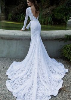 Vintage Lace Wedding Dresses Mermaid Long Sleeve Backless New White Bridal Gown