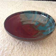 Buffalo Wallow clay. 3 dips rust red on half/ 3 dips turquoise on half. Dropped rust red on turquoise. (Sold)