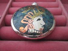 Taxco, Mexico Sterling Silver with Inlay Two-Sided Tribal Pendant