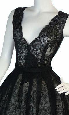 Dressing Vintage - Christian Dior numbered black lace vintage 1950s dress, $2,200.00 (http://dressingvintage.com/christian-dior-numbered-black-lace-vintage-1950s-dress/)