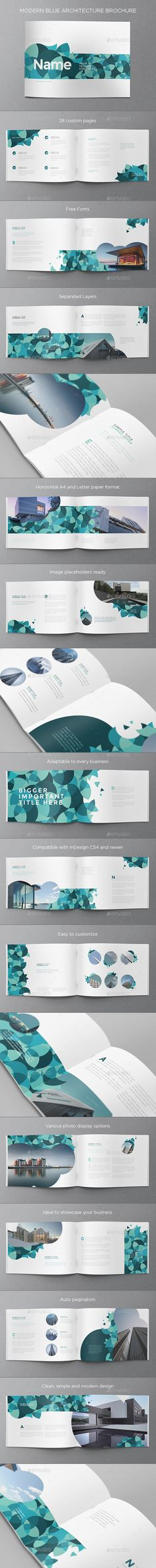 Modern Blue Architecture Brochure Template InDesign INDD. Download here: http://graphicriver.net/item/modern-blue-architecture-brochure/15380145?ref=ksioks