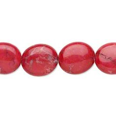 Bead, howlite (dyed), red, 14x12mm flat oval, B grade, Mohs hardness 3 to 3-1/2. Sold per 16-inch strand.