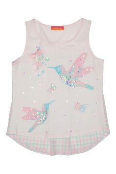 Kate Mack Girl's 2-6X Flitter Flutter Top. The hummingbird is a magical creature, and the beautiful screen print on this pretty knit top beautifully captures that feeling. A dusting of sparkling sequins adds the perfect finishing touch.