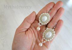 Retro earrings, white earrings, pearl earrings, beaded earrings, retro jewelry, beaded jewelry, glass beads jewelry by MythaJewelry on Etsy