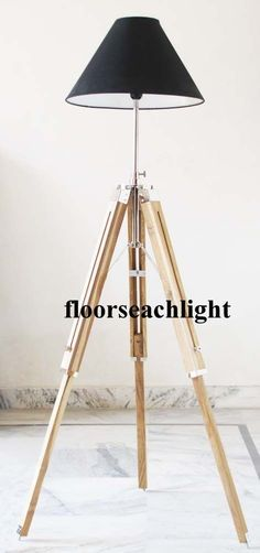 Tripod Floor Lamp Stand Teak Wood Solid Lamp Stand Natural Wood Decor