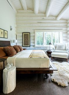 A creative couple and their design team transform a tired log home into a streamlined showplace for their artwork.