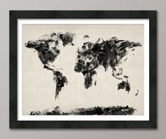 etsys ideas love this Map+of+the+World+Map+Dark+Abstract+Painting+Art+Print+by+artPause,+£14.99