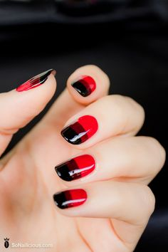 Red nail art - DAY 9, gradient nail art