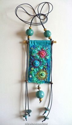Go with the flow this bohemian jewelry is embroidered felt in Fiber Art Jewelry, Textile Jewelry, Fabric Jewelry, Jewelry Art, Jewellery, Fabric Beads, Fabric Art, Fabric Crafts, Beaded Embroidery