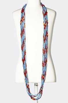 """Heavy Stacked Turquoise And Multi Color Bead Necklace -Heavy Layered Bead Necklace StarShine Jewelry. $37.70. No clasp. Length approx 60"""". Heavy stacked multi bead necklace. Total of 8 strands"""