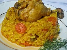 Arroz con pollo de corral olla GM Gm Olla, Pollo Guisado, Latin Food, Rice Recipes, Chana Masala, Fried Rice, Risotto, Chicken, Meat