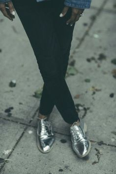 Disco glam, silver shoes