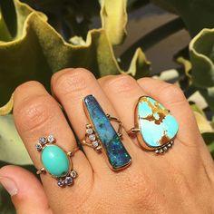 New turquoise and Opal rings #bcejewelry #futureheirlooms #finejewelry #showmeyourrings #lovegoldlive #lovegold #turquoiseandgold #turquoisering #opalporn #opalring #australianopal