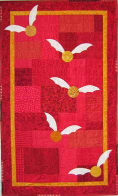 """Harry Potter Gryffindor Quilt, 39"""" x 65"""".  For toddlers, kids, teens and adults."""