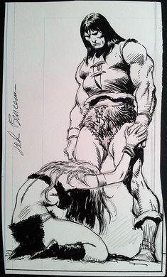 Conan w/babe Comic Art